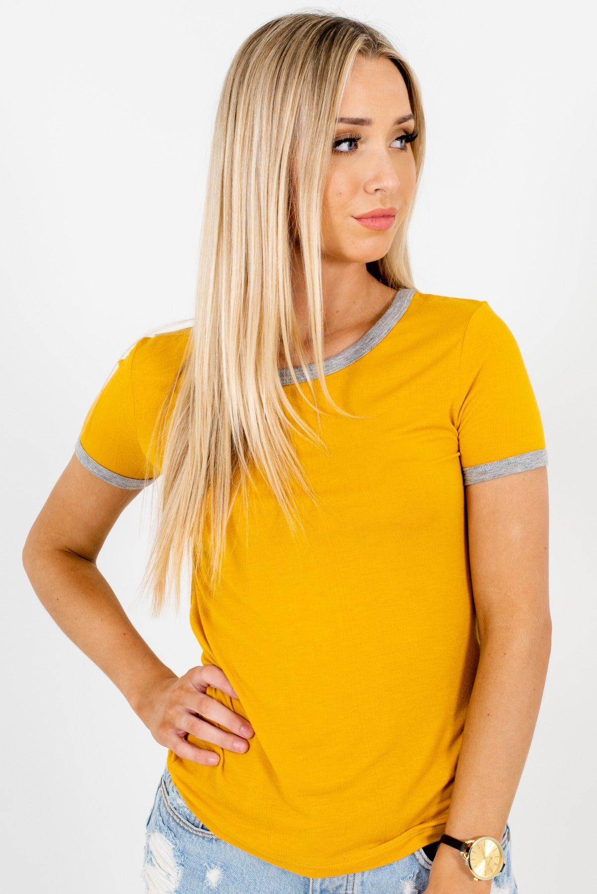 Mustard Yellow and Heather Gray Ringer Style Boutique Tees for Women