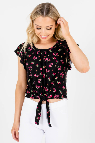 Black Floral Cute and Comfortable Boutique Tops for Women