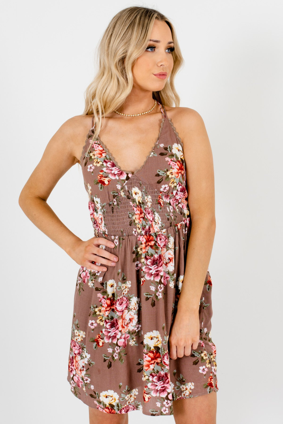 1fa9174fa Light Brown Floral Mini Dresses with Lace Trim and Strappy Open Back