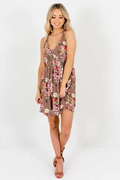 Light Brown Floral Mini Dresses Affordable Online Boutique