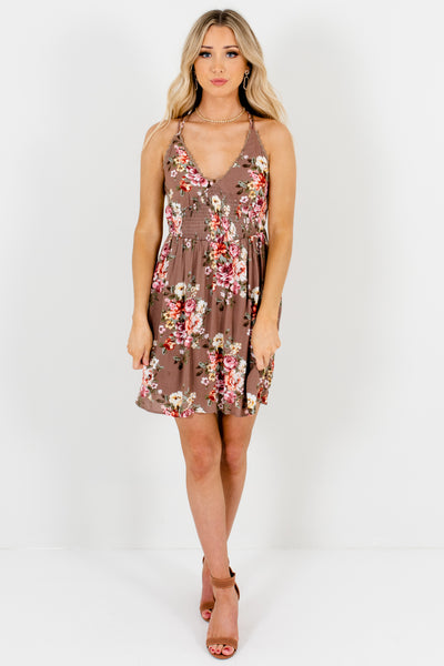 Light Brown Floral Smocked Mini Dresses Affordable Online Boutique