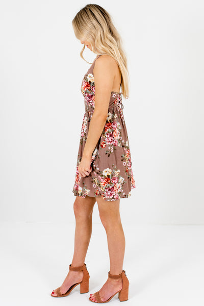 Light Brown Pink Floral Boutique Mini Dresses with Lace Trim
