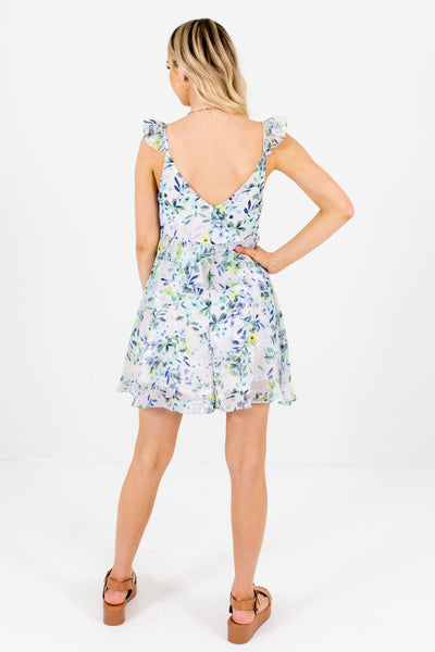 Gray Watercolor Floral Print Ruffle Mini Dresses Affordable Online Boutique