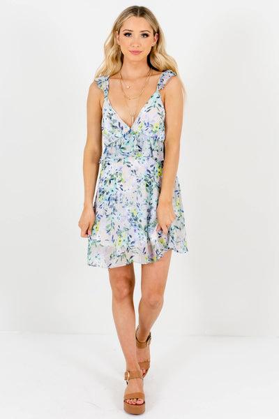 Gray Watercolor Floral Print Ruffle Mini Dresses for Women