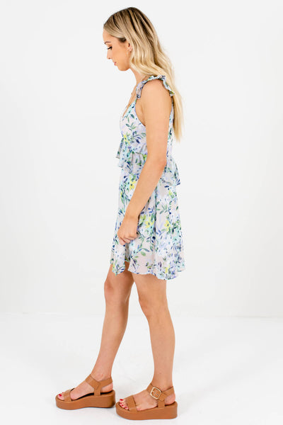 Gray Floral Print Ruffle Mini Dresses Affordable Online Boutique