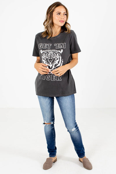 Charcoal Gray Cute and Comfortable Boutique Graphic Tees for Women