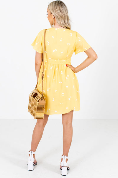 Women's Yellow Button Up Front Boutique Mini Dress