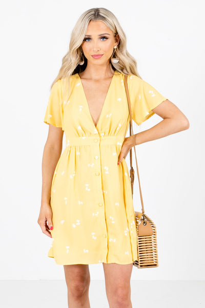 Yellow Patterned Boutique Mini Dresses for Women