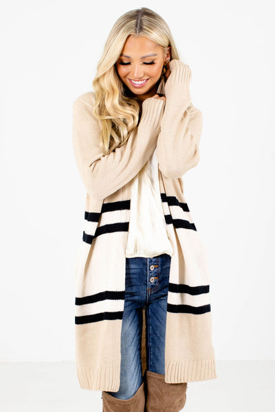 Taupe and Black Striped Boutique Cardigans for Women
