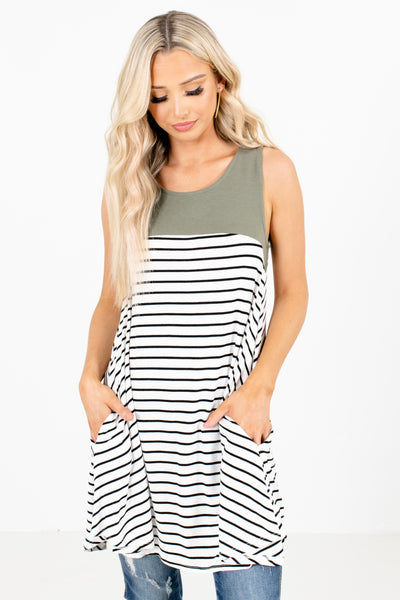 Olive Color Block Striped Patterned Boutique Tunics for Women