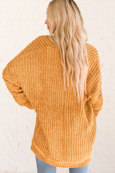 Mustard Yellow Women's Chenille Soft Cozy Winter Warm Clothing