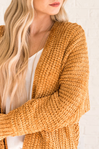 Mustard Yellow Knit Cardigans for Women Cozy Warm Clothes