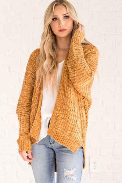 Mustard Yellow Soft Knit Chenille Cozy Cardigan Sweaters for Women