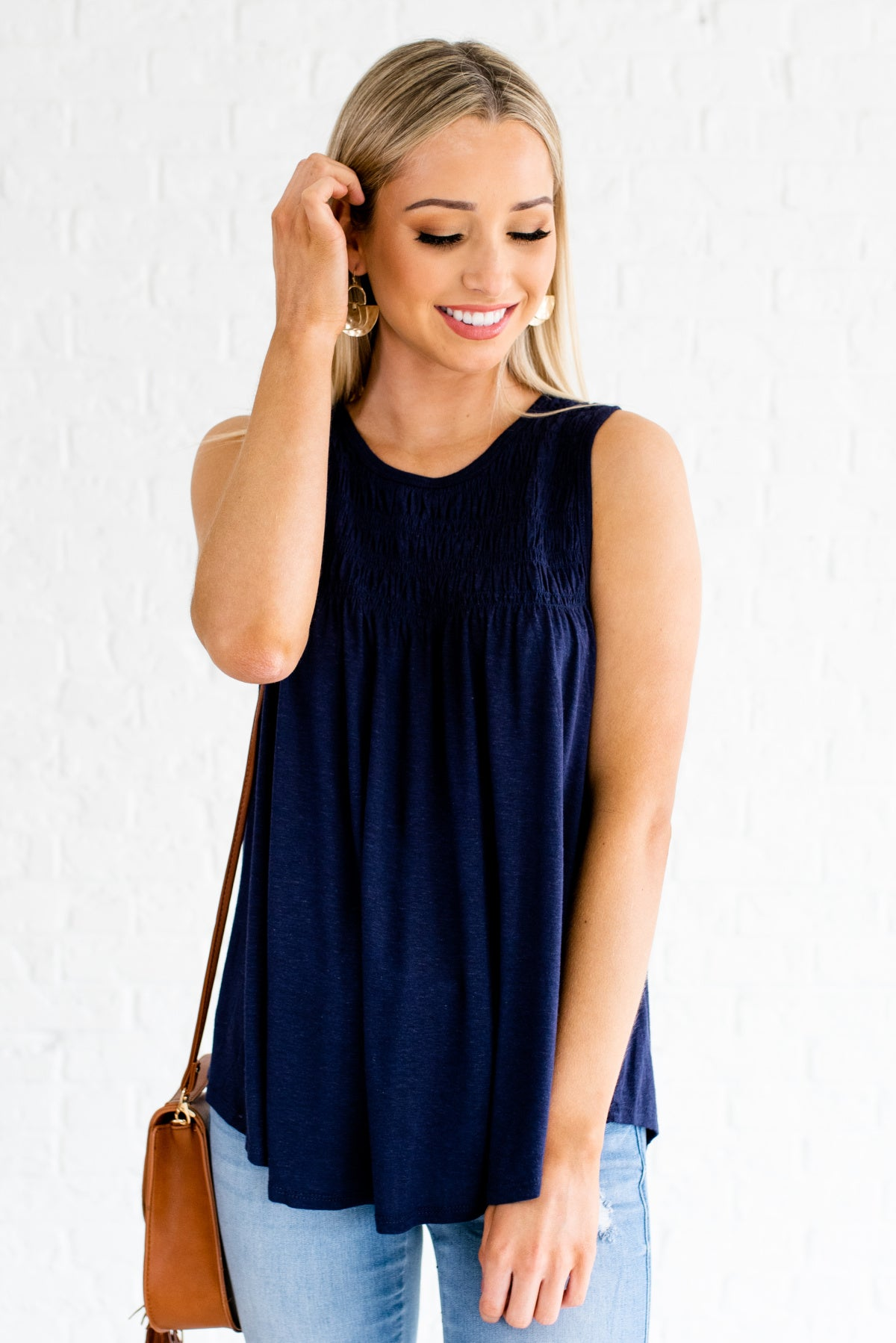 Navy Blue Smoked Bodice Boutique Tops for Women