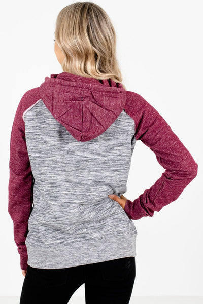 Women's Burgundy Front Pocket Boutique Hoodie