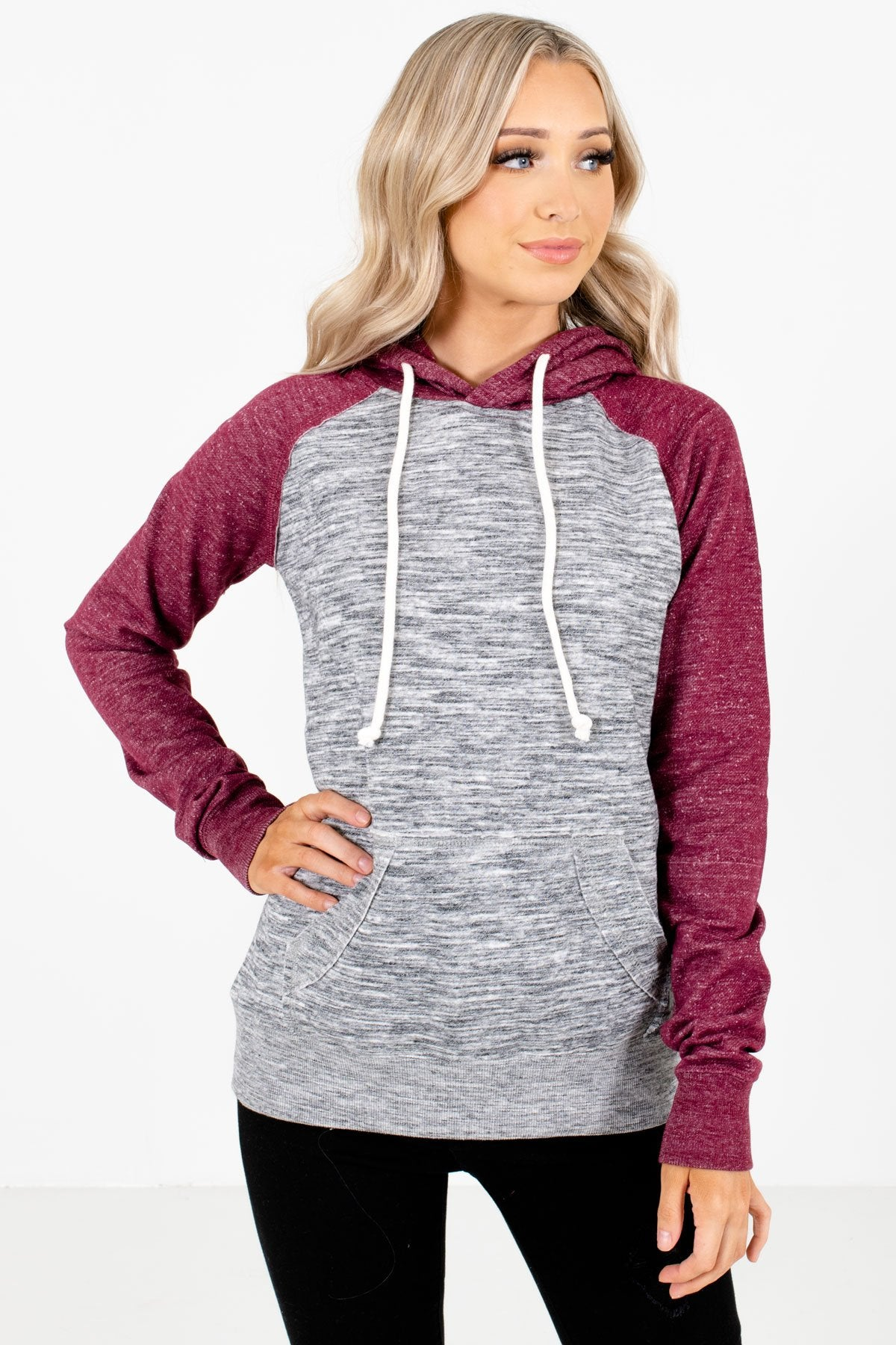 Burgundy and Gray High-Quality Boutique Hoodies for Women