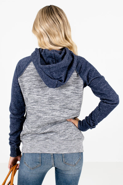 Women's Navy Blue Front Pocket Boutique Hoodie