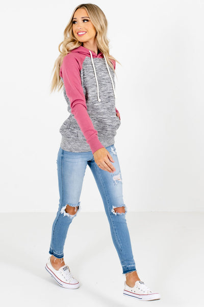 Pink Drawstring Hood Boutique Hoodies for Women
