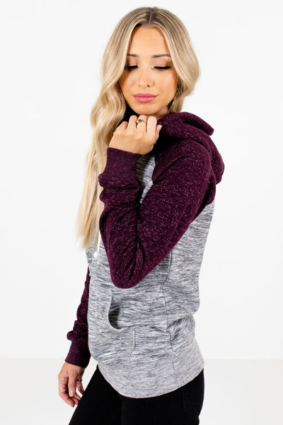Purple Drawstring Hood Boutique Hoodies for Women