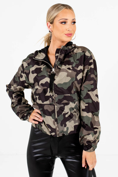 Green Camo Print Boutique Windbreakers for Women