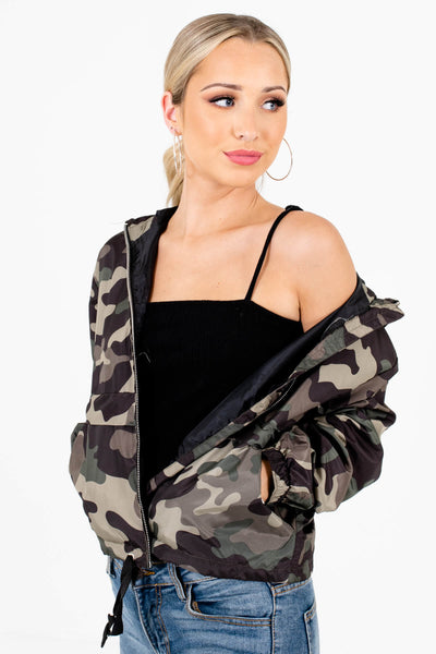 Green Camo Cute and Comfortable Boutique Windbreakers for Women
