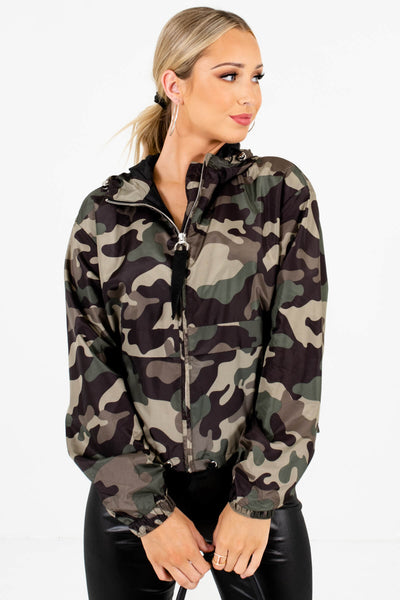 Green Camo Lightweight High-Quality Boutique Windbreakers for Women