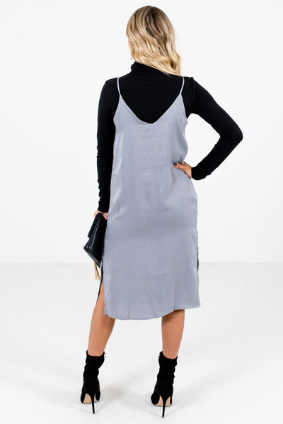 Women's Slate Gray Knee-Length Boutique Dress