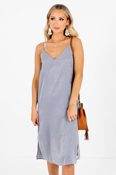 Slate Gray Spaghetti Strap Style Boutique Dresses for Women