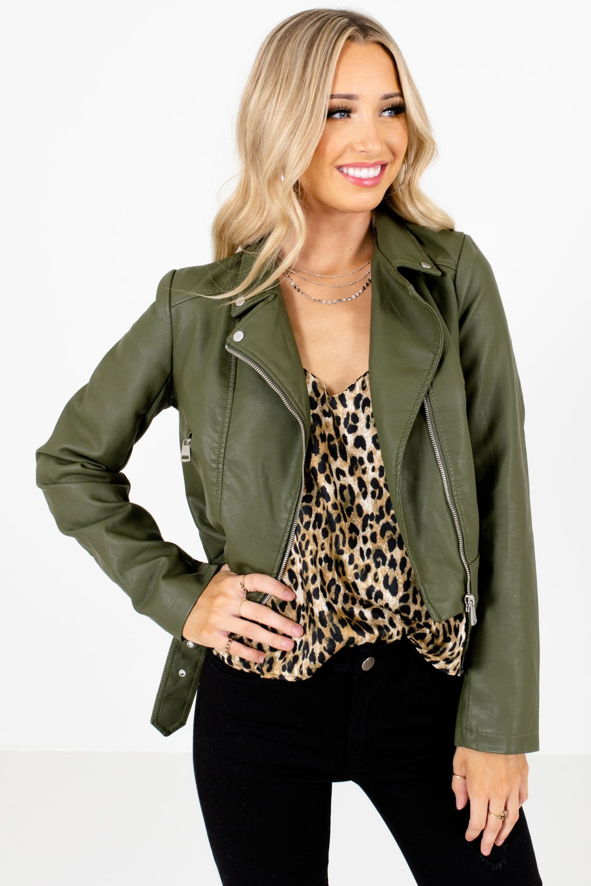Green Zip-Up Front Boutique Jackets for Women
