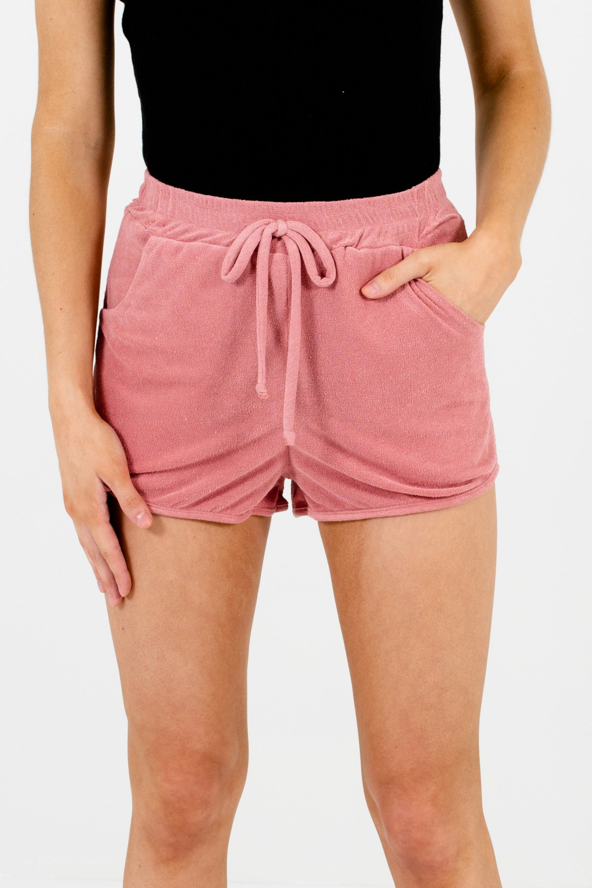 Pink Boutique Loungewear Pajama Shorts with Pockets and Elastic Waist