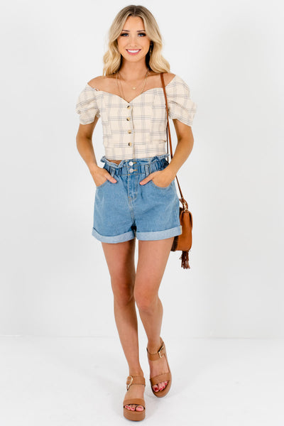 Beige Gray White Plaid Puff Sleeve Button Up Structured Crop Tops