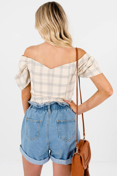 Yellow Beige Gray White Plaid Button Up Puff Sleeve Crop Tops