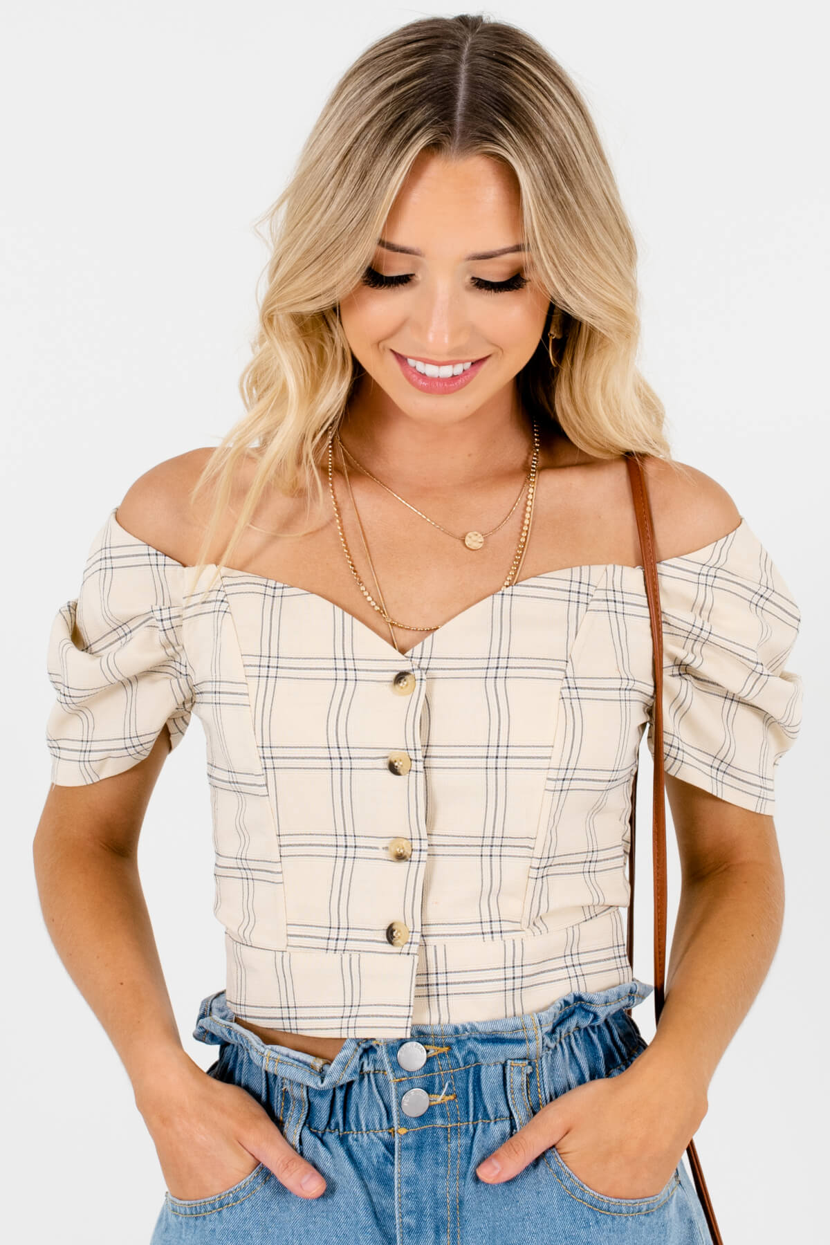 Beige Yellow Plaid Button-Up Puff Sleeve Structured Tops for Women