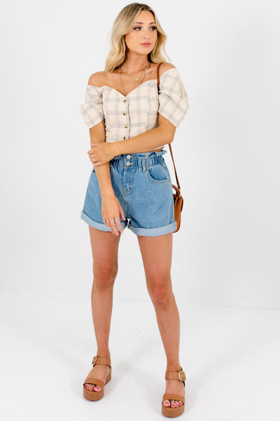 Beige Plaid Button-Up Puff Sleeve Off Shoulder Crop Tops