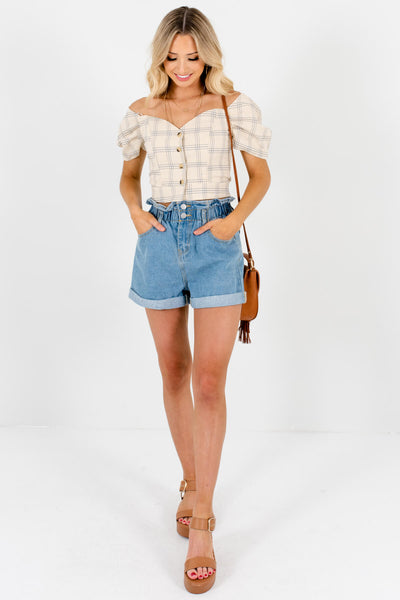 Beige Plaid Off Shoulder Puff Sleeve Button Up Crop Tops for Women