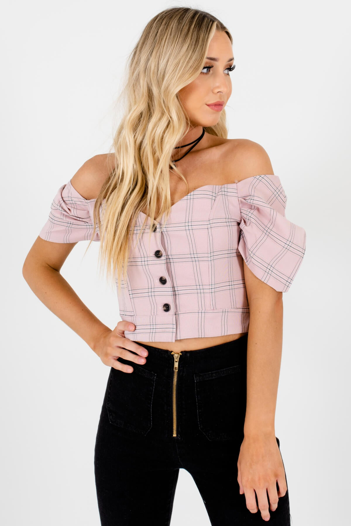 Pink Plaid Button Up Off Shoulder Puff Sleeve Crop Tops for Women