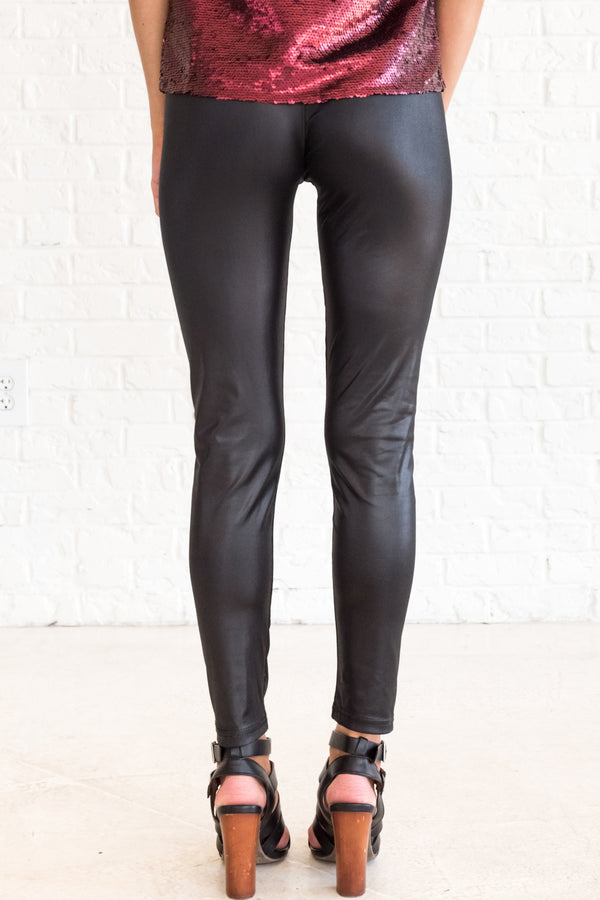 c49c05952acd7 Girls Run the World Black Faux Leather Leggings | Boutique