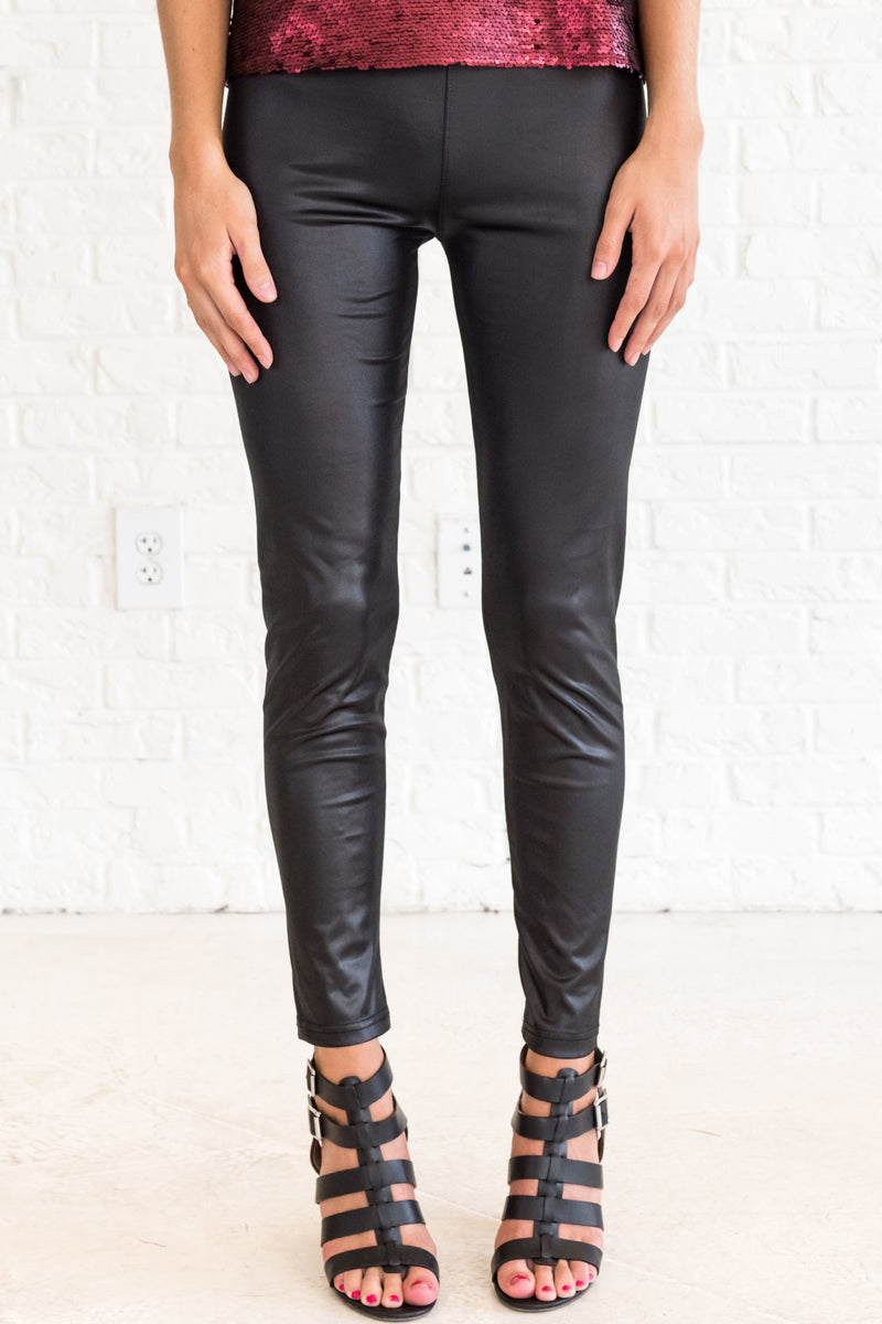 Girls Run the World Black Faux Leather Leggings