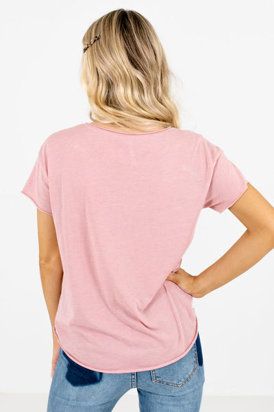 Women's Pink Front Pocket Boutique Tops