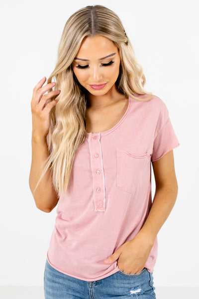 Pink Raw Hem Boutique Tops for Women
