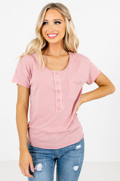 Pink Button-Up Neckline Boutique Tops for Women