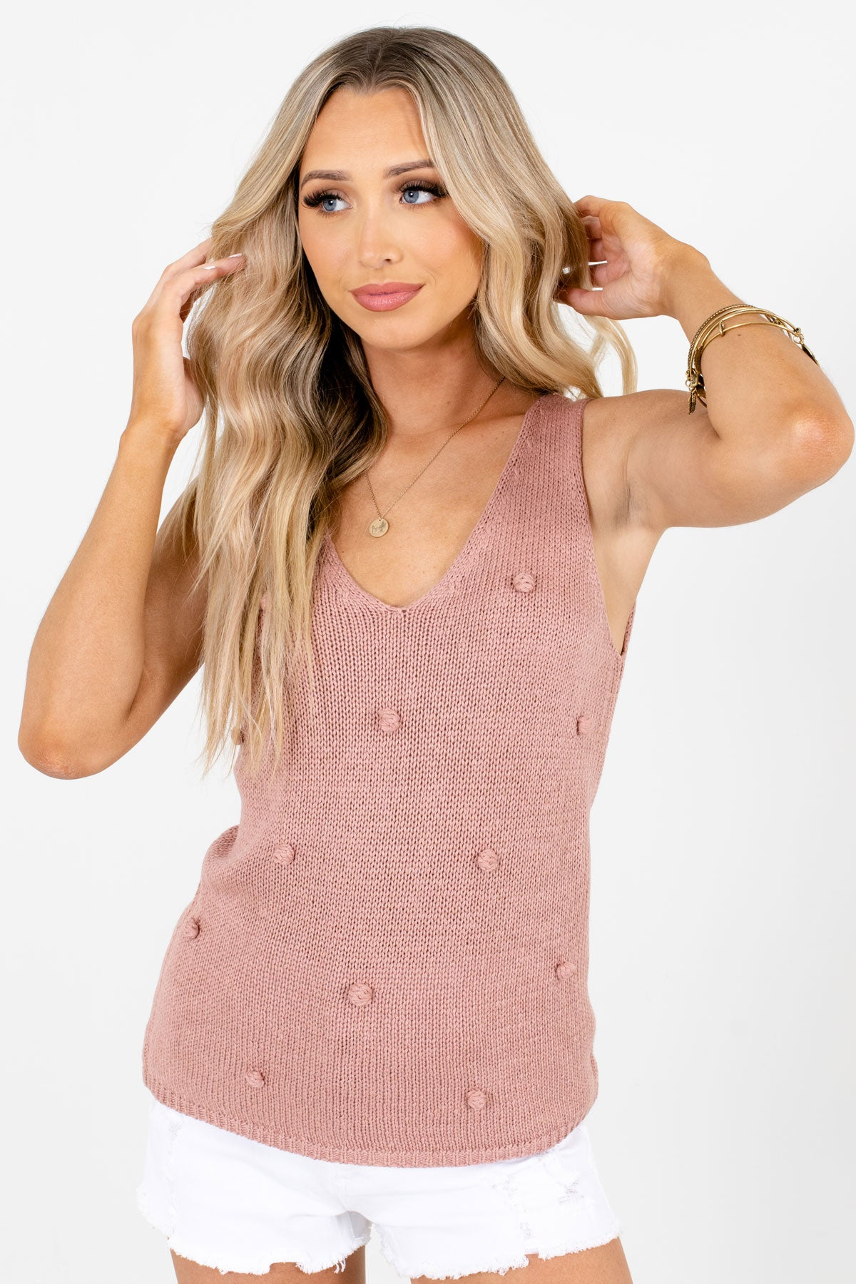 Pink Polka Dot Textured Boutique Tank Tops for Women