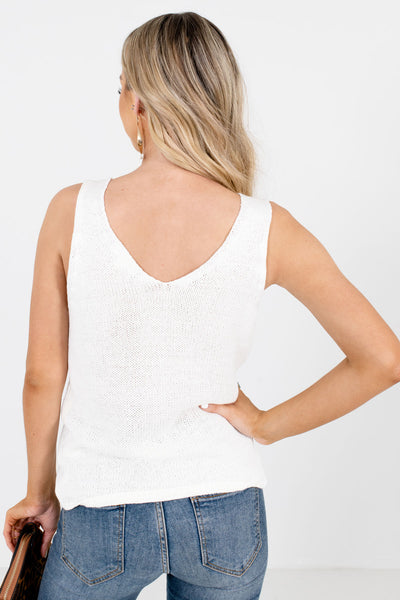 Women's White Stretchy Lightweight Boutique Tank Top