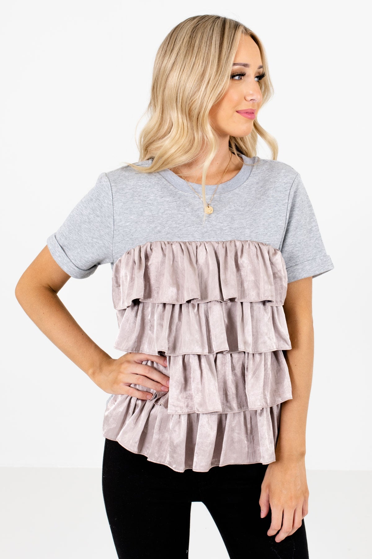 Heather Gray and Blush Ruffled Accented Boutique Tops for Women