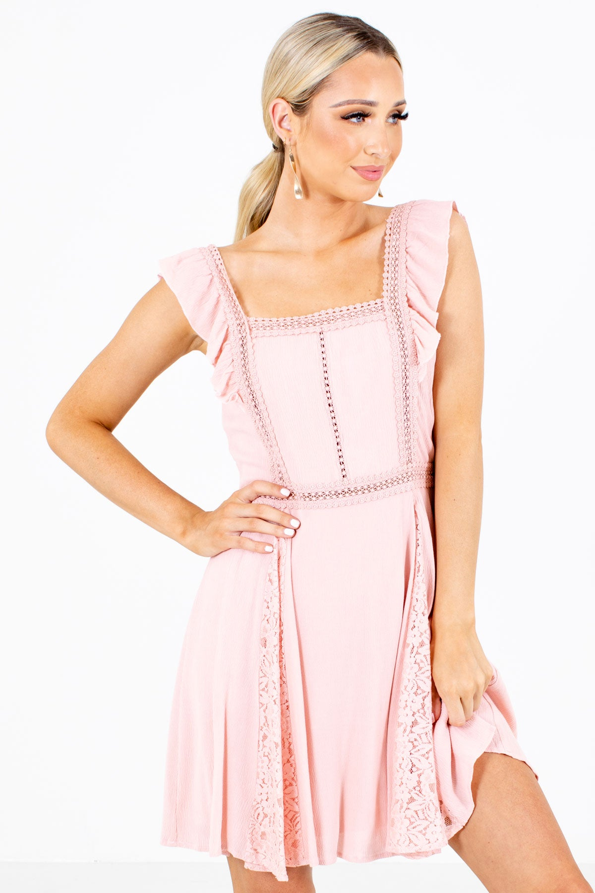 Mini Dress with Lace Trim in Pink for Women