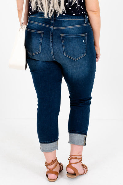 Women's Dark Wash Denim Blue Plus Size Boutique Jeans with Pockets