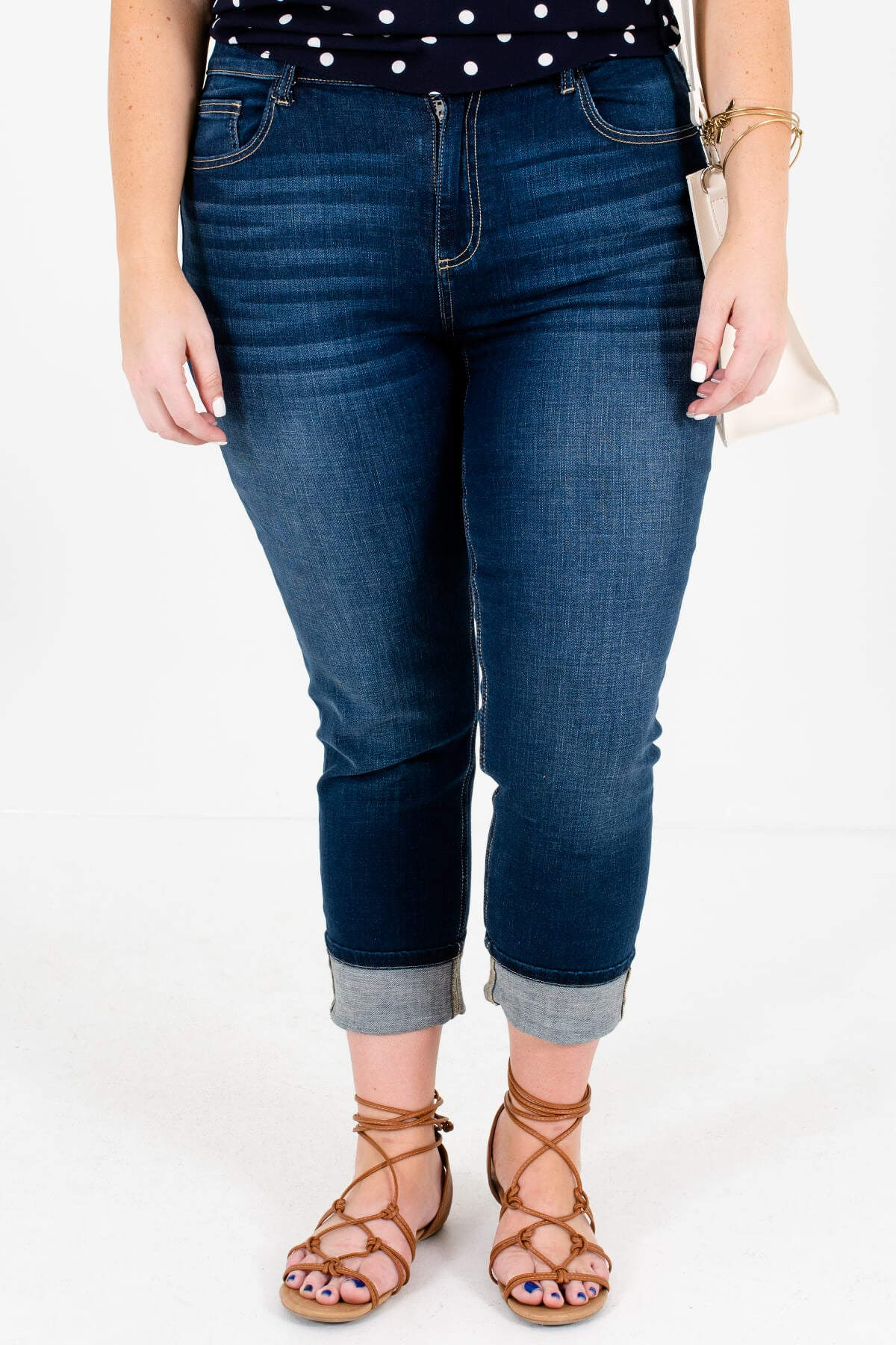 Dark Wash Denim Blue Skinny Fit Boutique Jeans for Women
