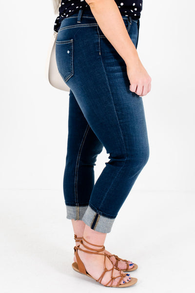Dark Wash Denim Blue Plus Size Boutique Jeans with Bronze Hardware for Women
