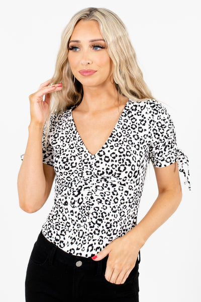 White and Black Leopard Print Patterned Boutique Bodysuits for Women