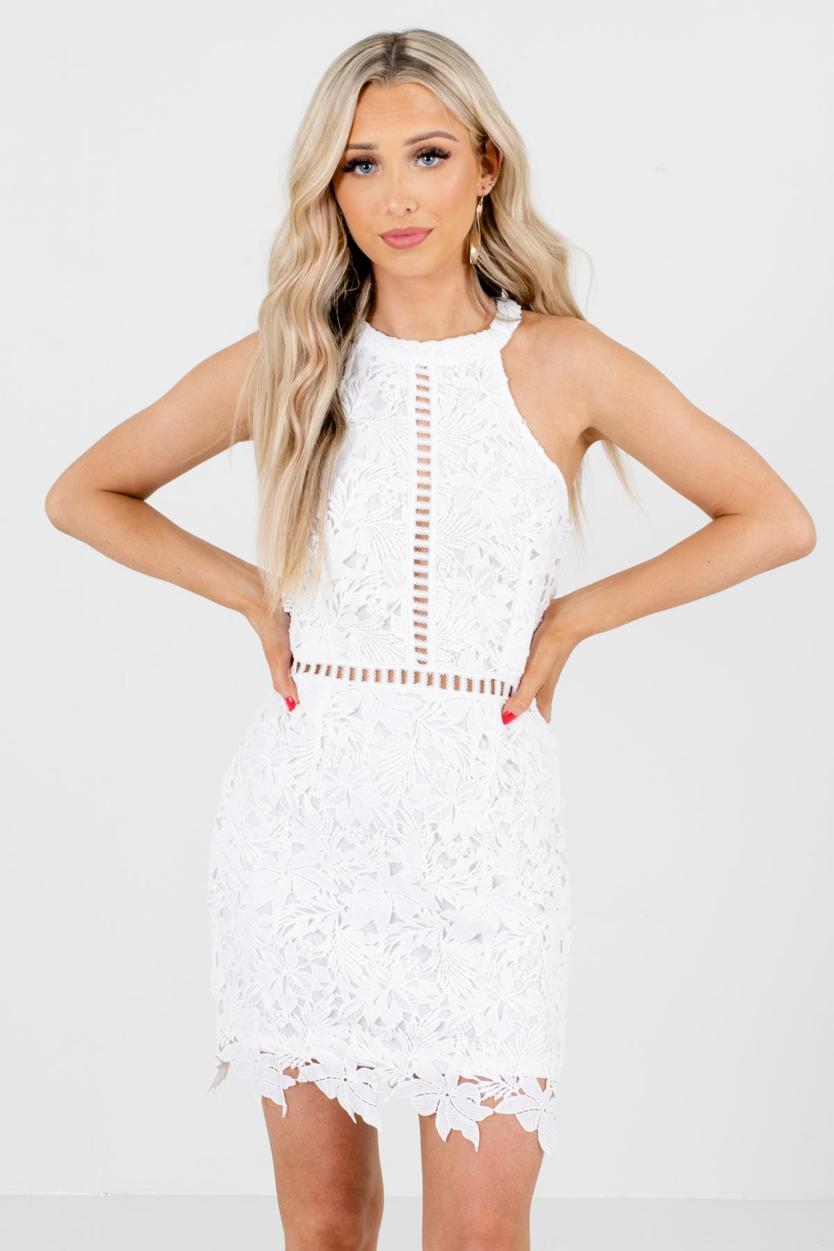 White Crochet Lace Material Boutique Mini Dresses for Women